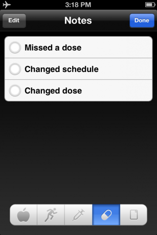 iBG*Star Diabetes Manager App - Notes on Medication Administration