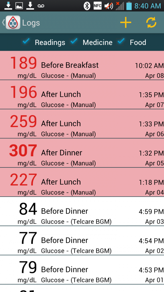 Telcare Diabetes Pal Android App - Logs