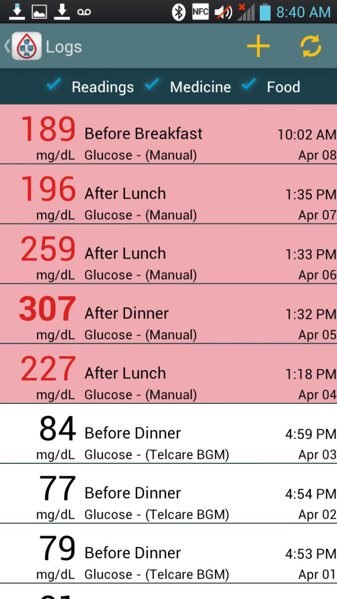 Telcare Diabetes Pal Android App - Logs