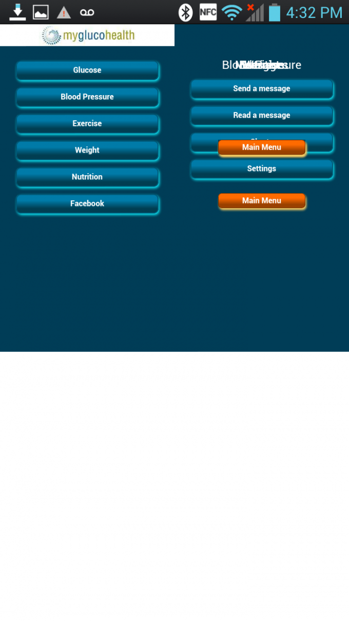 MyGlucoHealth Android App - Malformed UI Menu 1