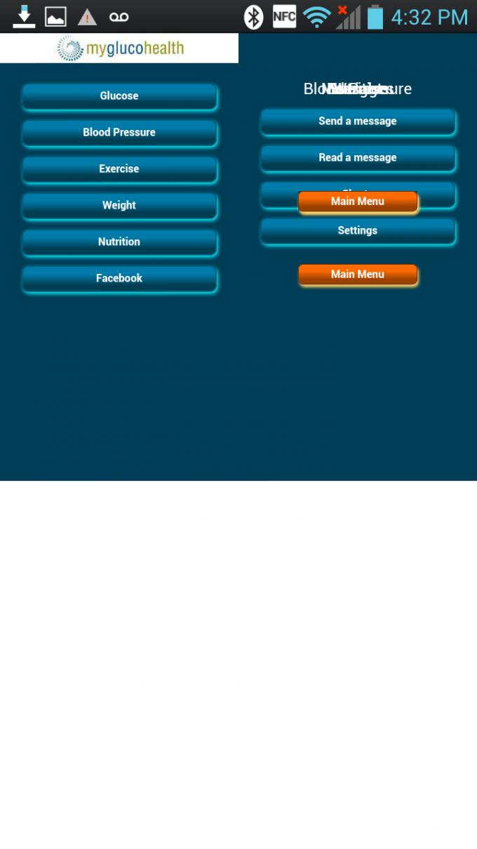 MyGlucoHealth Android App - Malformed UI Menu 1